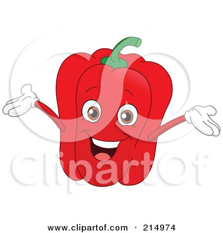 Royalty-Free (RF) Clipart Illustration of a Happy Red Bell Pepper Character Holding His Arms Up by yayayoyo