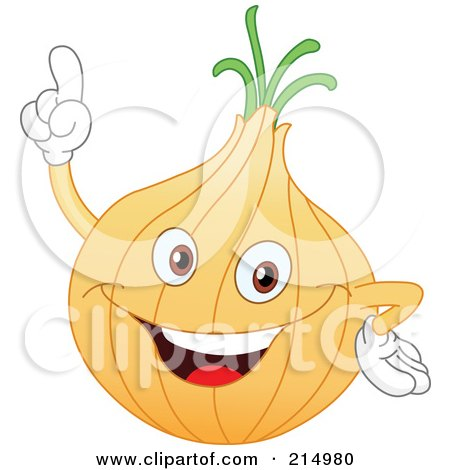 Royalty-Free (RF) Clipart Illustration of a Happy Onion Character Holding His Arms Up by yayayoyo