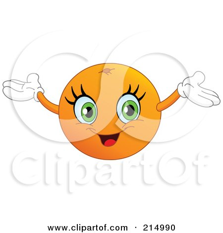 Royalty-Free (RF) Clipart Illustration of a Happy Orange Character Holding His Arms Up by yayayoyo