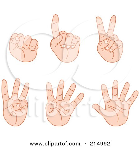 Royalty-Free (RF) Clipart Illustration of a Digital Collage Of Counting Fingers From Zero To Five by yayayoyo