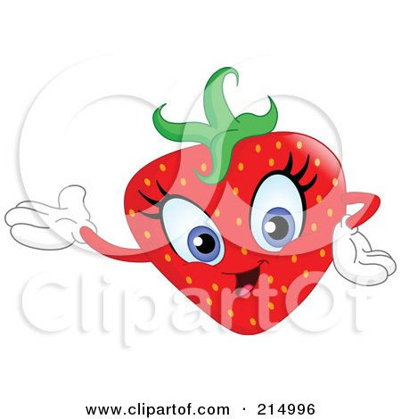 Royalty-Free (RF) Clipart Illustration of a Happy Strawberry Character Presenting by yayayoyo