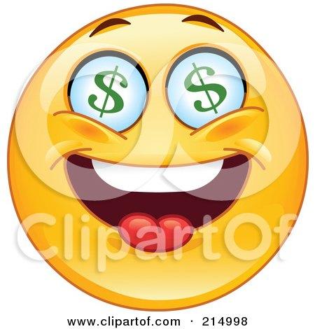 Royalty-Free (RF) Clipart Illustration of a Greedy Emoticon With Dollar Symbol Eyes by yayayoyo