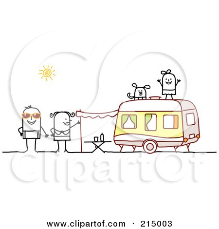 Royalty-Free (RF) Clipart Illustration of a Stick Family Camping With A Camper by NL shop