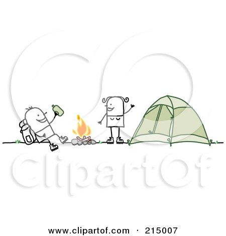 Royalty-Free (RF) Clipart Illustration of a Camping Couple Around Their Campfire by NL shop