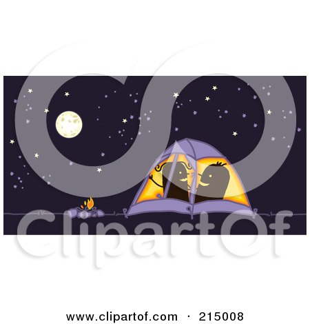 Royalty-Free (RF) Clipart Illustration of a Camping Couple Getting Frisky In Their Tent At Night by NL shop