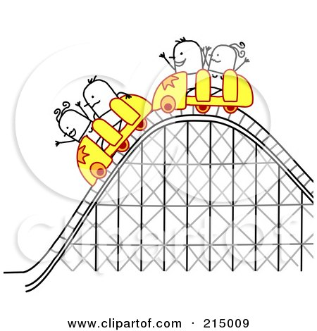 Royalty-Free (RF) Clipart Illustration of Stick People Riding A Roller Coaster by NL shop