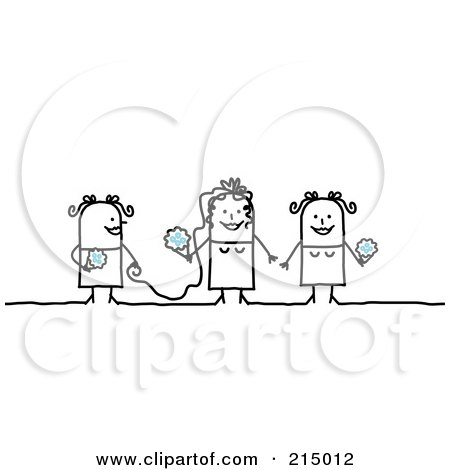 Royalty-Free (RF) Clipart Illustration of a Stick Woman Bride With Her Maid Of Honor And Bridesmaid by NL shop