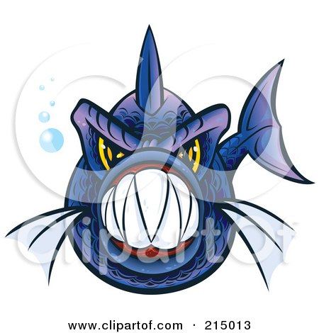 Royalty-Free (RF) Clipart Illustration of an Aggressive Blue And Purple Piranha Fish With Sharp Teeth by Paulo Resende