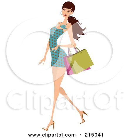 Royalty-Free (RF) Clipart Illustration of a Woman Shopping In A Polka Dot Dress - Full Body by OnFocusMedia