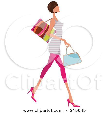 Clipart Trio Of Silhouetted Fashionable Ladies Shopping - Royalty ...
