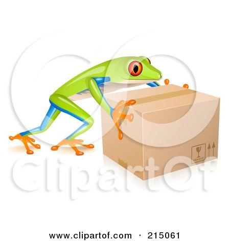 Royalty-Free (RF) Clipart Illustration of a Cute Tree Frog Pushing A Parcel Box by Oligo