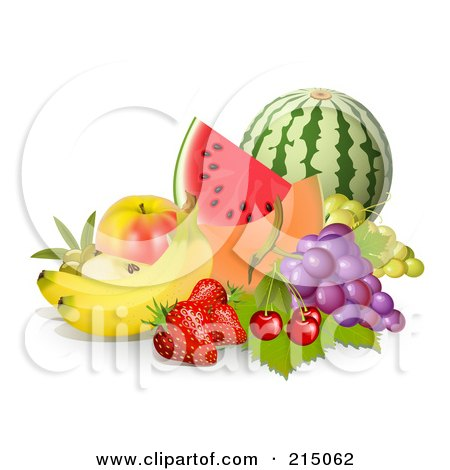 Royalty-Free (RF) Clipart Illustration of a Display Of Fruit; Watermelon, Cantaloupe, Apple, Grapes, Cherries, Strawberries And Bannas by Oligo