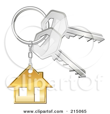 Royalty-Free (RF) Clipart Illustration of a Golden House Keychain On A Ring With Keys by Oligo