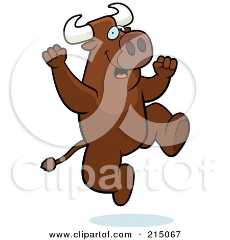 Royalty-Free (RF) Clipart Illustration of an Excited Bull Jumping by Cory Thoman