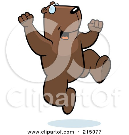 Royalty-Free (RF) Clipart Illustration of an Excited Groundhog Jumping by Cory Thoman