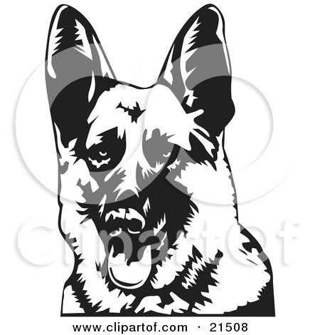 Clipart Illustration of a Friendly German Shepherd Dog Panting With His Tongue Hanging Out, Facing Front by David Rey