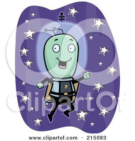 Royalty-Free (RF) Clipart Illustration of a Happy Alien Flying With A Jetpack by Cory Thoman