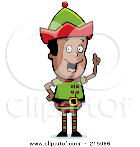 Royalty-Free (RF) Clipart Illustration of a Black Christmas Elf Man With An Idea by Cory Thoman