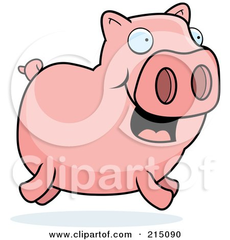 Royalty-Free (RF) Clipart Illustration of a Happy Pink Piggy Running by Cory Thoman
