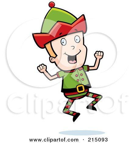 Royalty-Free (RF) Clipart Illustration of a Blond Christmas Elf Man Jumping by Cory Thoman