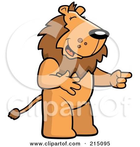 Royalty-Free (RF) Clipart Illustration of a Lion Laughing And Pointing by Cory Thoman