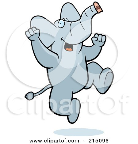 Royalty-Free (RF) Clipart Illustration of an Excited Elephant Jumping by Cory Thoman