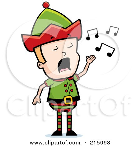 Royalty-Free (RF) Clipart Illustration of a Blond Christmas Elf Man Singing by Cory Thoman