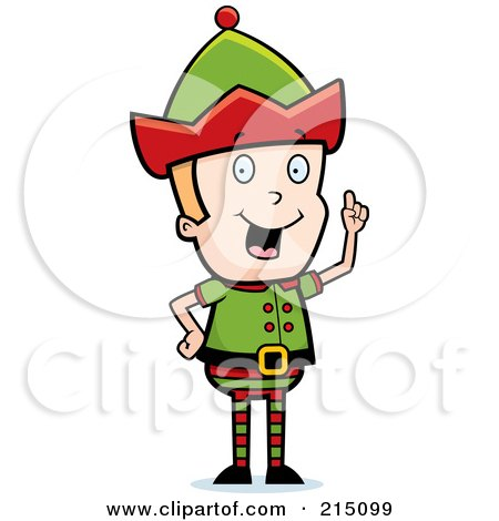 Royalty-Free (RF) Clipart Illustration of a Blond Christmas Elf Man With An Idea by Cory Thoman