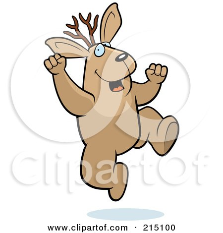 Royalty-Free (RF) Clipart Illustration of an Excited Jackalope Jumping by Cory Thoman