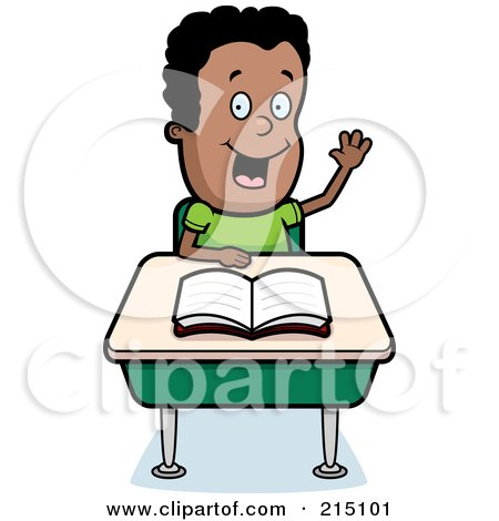 Royalty-Free (RF) Clipart Illustration of a Smart Black Boy Sitting At A Desk With His Hand Raised by Cory Thoman