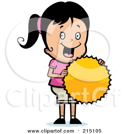 Royalty-Free (RF) Clipart Illustration of a Pleased Girl Holding A Burst Seal by Cory Thoman