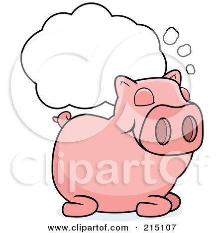 Royalty-Free (RF) Clipart Illustration of a Sleeping Pig With A Dream Cloud by Cory Thoman