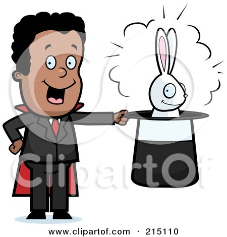 Royalty-Free (RF) Clipart Illustration of a Black Magician With A Rabbit In A Hat by Cory Thoman