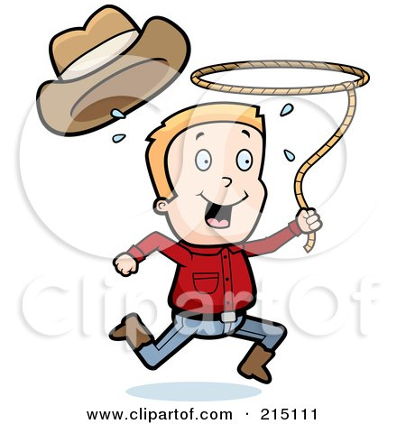 Royalty-Free (RF) Clipart Illustration of a Happy Cowboy Running And Swinging A Lasso by Cory Thoman