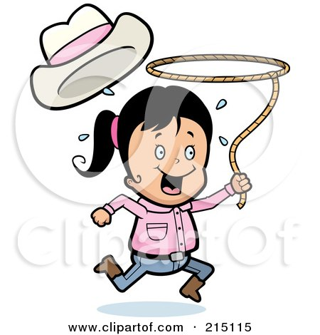 Royalty-Free (RF) Clipart Illustration of a Happy Cowgirl Running And Swinging A Lasso by Cory Thoman