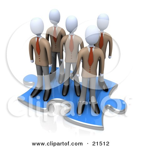 Clipart Illustration of a Group Of Businessmen Standing Together On A Blue Puzzle Piece Over A Reflective White Surface, Symbolizing Teamwork And Solutions by 3poD
