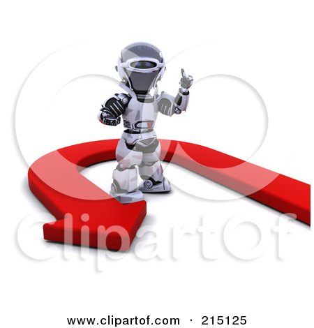 Royalty-Free (RF) Clipart Illustration of a Red Arrow Turning Around A 3d Robot by KJ Pargeter