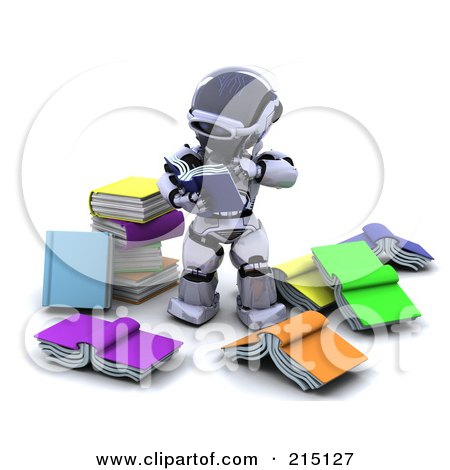 Royalty-Free (RF) Clipart Illustration of a 3d Robot Reading Through Books by KJ Pargeter