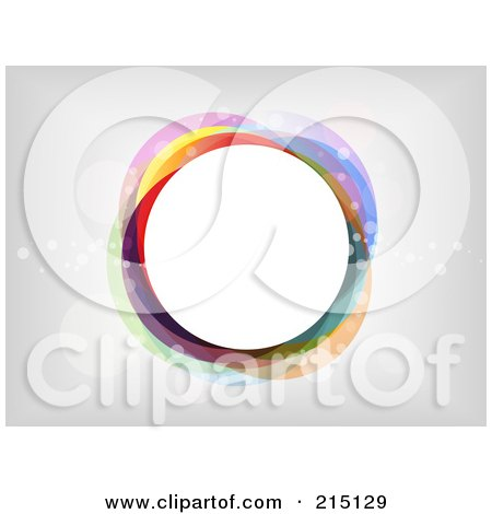 Royalty-Free (RF) Clipart Illustration of a Colorful Circle With Transparent Bubbles Over Gray And White by KJ Pargeter