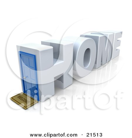 Clipart Illustration of a Residential House In The Shape Of Text Reading Home With A Welcome Mat At The Blue Front Door, On A Reflective White Background by 3poD