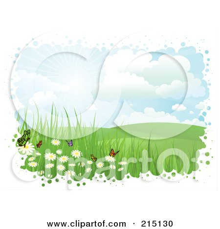 Royalty-Free (RF) Clipart Illustration of a Bubbly White Border Around Butterflies And Flowers In A Hilly Landscape by KJ Pargeter