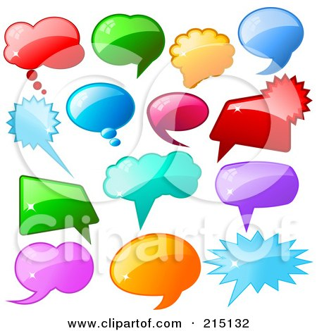 Royalty Free RF Clipart Illustration Of A Digital Collage Of Shiny Colorful Speech Balloon Icons