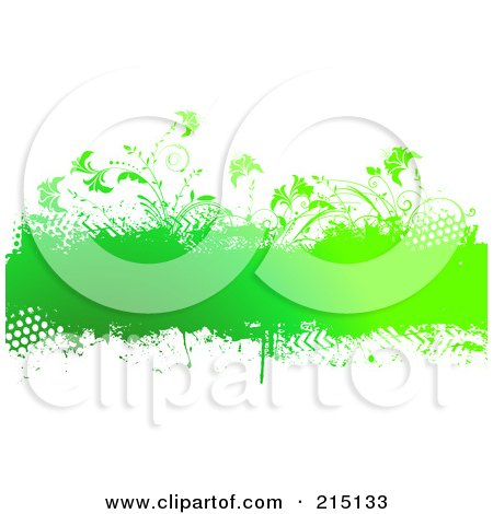 Royalty-Free (RF) Clipart Illustration of a Grungy Green Text Bar With Plants by KJ Pargeter