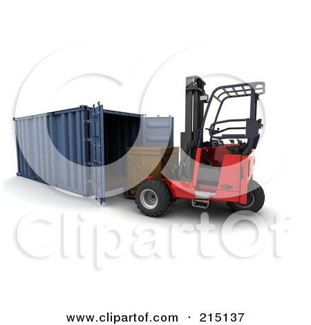 Royalty-Free (RF) Clipart Illustration of a 3d Forklift Loading A Crate Into A Container by KJ Pargeter