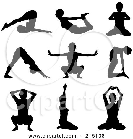 Royalty-Free (RF) Clipart Illustration of a Digital Collage Of Nine Silhouetted Women In Yoga Poses by KJ Pargeter