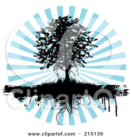 Royalty-Free (RF) Clipart Illustration of a Black Silhouetted Tree With Grasses Dripping Over A Blue Burst by KJ Pargeter