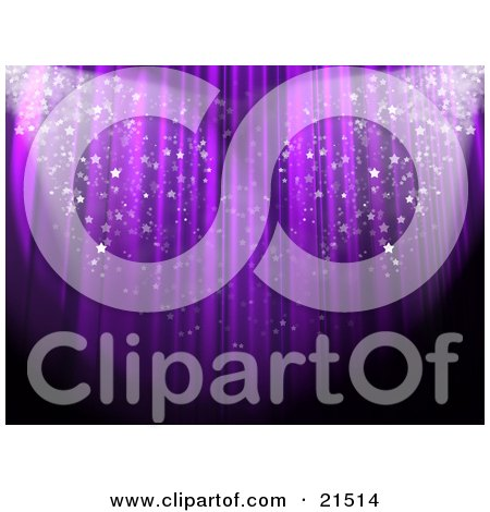 Clipart Illustration of Sparkling Confetti Falling In Spotlights In Front Of A Purple Theatre Curtain At An Event by 3poD