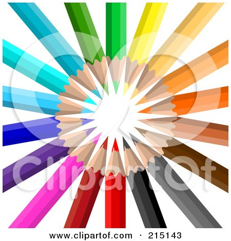 Royalty-Free (RF) Clipart Illustration of Colorful Pencils Pointing In A Circle by KJ Pargeter