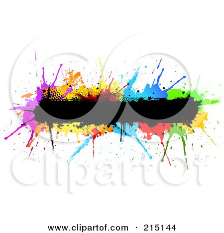 Royalty-Free (RF) Clipart Illustration of a Grungy Black Bar Over Colorful Splatters by KJ Pargeter