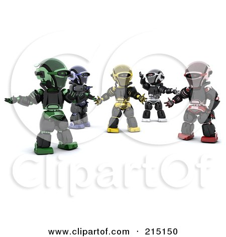 Royalty-Free (RF) Clipart Illustration of a Group Of Diverse 3d Robots by KJ Pargeter